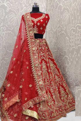 Bridal Wear Velvet Red Color Lehenga Choli