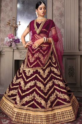 Bridal Wear Wine Color Velvet Heavy Lehenga Choli