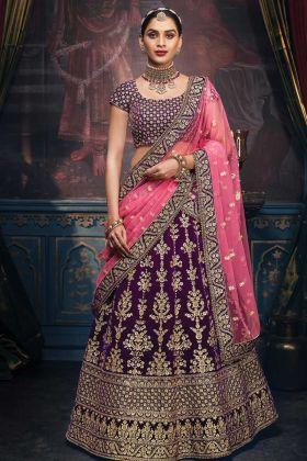 Bridal Wear Wine Color Velvet Wedding Lehenga