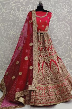 Bridal Wedding Embroidered Pink Lehenga Choli In Soft Net Fabric