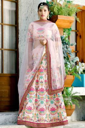 Bridal Baby Pink Silk Lehenga Choli