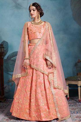 Bridal Lehenga Choli Art Silk Peach Color