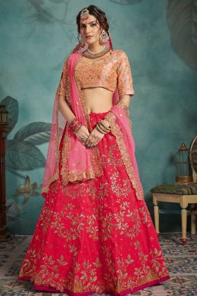 Bridal Lehenga Choli Red Art Silk Fabric
