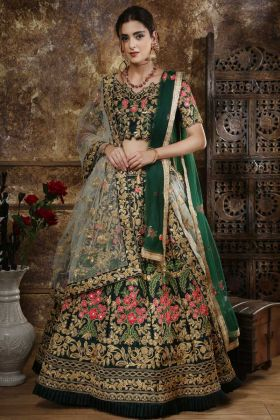 Bridal Lehenga Choli Taffeta Satin Green Color
