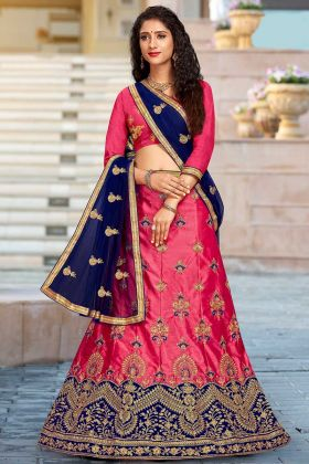 Bridal Lehenga Pink Color Satin Silk With Net Dupatta