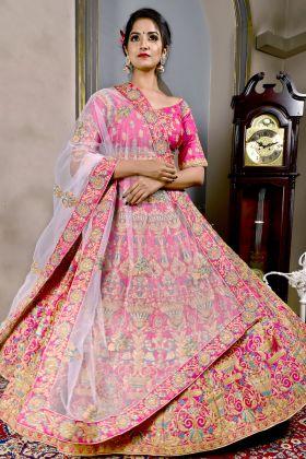 Bridal Lotus Pink Pattern Silk Lehenga Choli