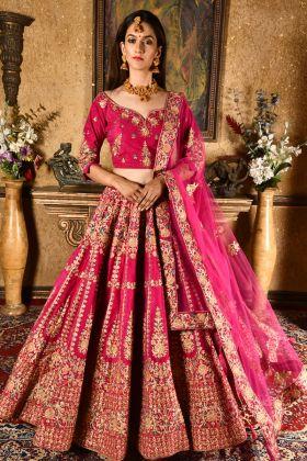 Bridal Magenta Pink Velvet Lehenga Choli