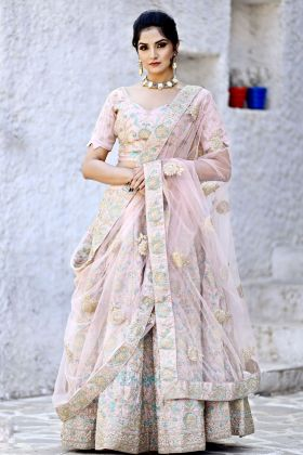 Bridal Malai Satin Crepe Pink Lehenga Choli Online
