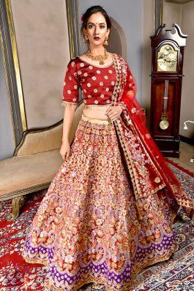 Bridal Maroon Silk Bridal Lehenga Choli
