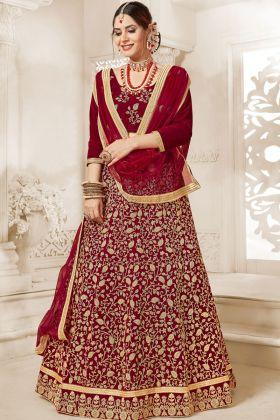 Bridal Maroon Velvet Lehenga Choli