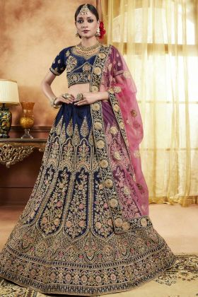 Bridal Navy Blue Velvet Lehenga Choli
