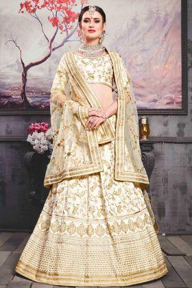 Bridal Pearl White Phantom Silk Lehenga Choli