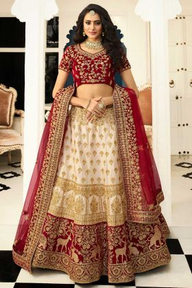 Bridal Red And Off White Embroidered Heavy Silk Lehenga Choli