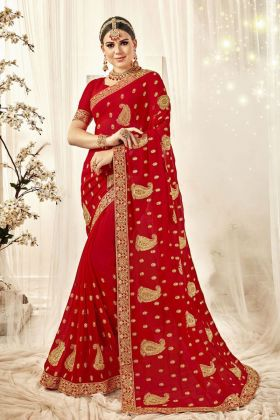 Bridal Red Georegette Saree
