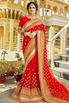 Bridal Red Georgette Saree Online