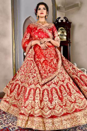 Bridal Red Ruby Silk Lehenga Choli
