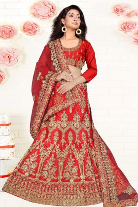 Bridal Red Satin Silk Embroidered Lehenga Choli With Net Dupatta