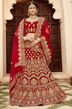 Bridal Red Soft Velvet Designer Lehenga Choli