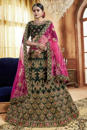 Bridal Velvet Green Lehenga Choli Online