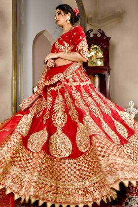 Bridal Velvet Gulkand Maroon Lehenga Choli Online