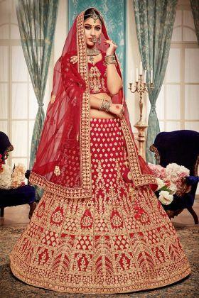 Bridal Velvet Red Lehenga Choli Online