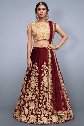 Bridal Wear Maroon Velvet Silk Designer Lehenga Choli