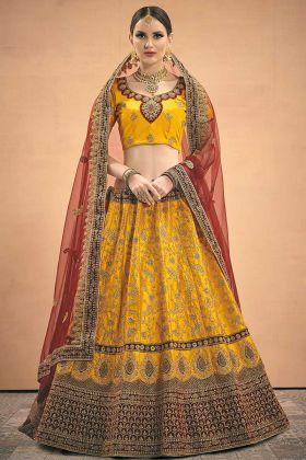 Bridal Wear Mustard Satin Designer Lehenga Choli
