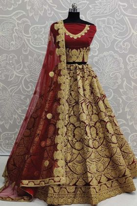 Bride Special Art Silk Embroidery Work Maroon Lehenga Choli