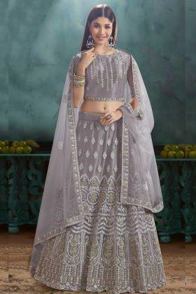 Bride Mono Net Grey Color Lehenga Choli Grey Color With Stone Hand Work