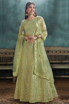 Bride Mono Net Lehenga Choli Green Color With Resham Emroidery Work