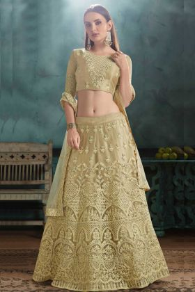 Bride Mono Net Lehenga Choli Parrot Green Color With Zari Embroidery Work