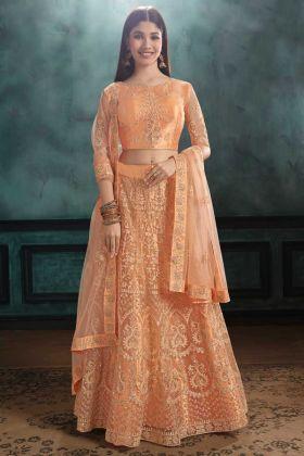 Bride Mono Net Orange Color Lehenga Choli With Resham Embroidery Work