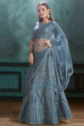 Bride Mono Net Reception Lehenga Choli Resham Embroidery Work Dark Grey Color