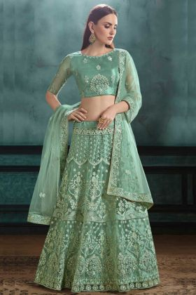 Bride Mono Net Reception Lehenga Choli Zari Embroidery Work In Green Color
