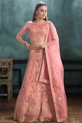 Bride Mono Net Wedding Lehenga Choli Zari Embroidery In Peach Color