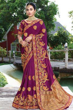 Bright Purple Color Satin Silk Saree In Stone Work