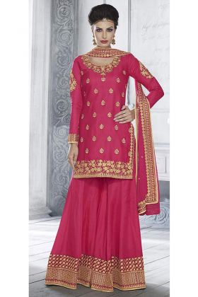 Bright Pink Color Palazzo Suit With Zari Embroidery Work