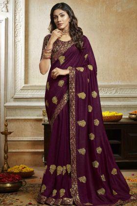 Brocade Designer Blouse With Soft Art Silk Purple Saree