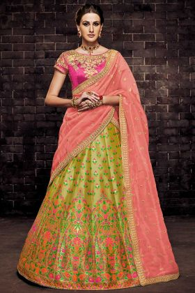 Brocade Bridal Lehenga Choli In Olive Color