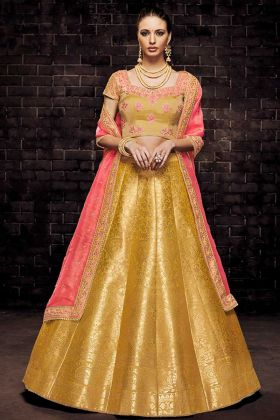 Brocade Festival Lehenga Choli In Yellow Color