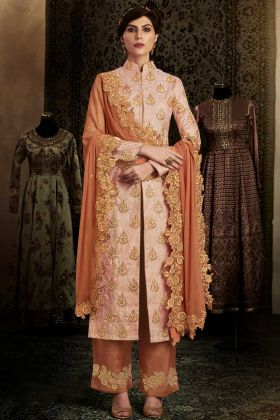 Brocade Pant Style Suit In Peach Color