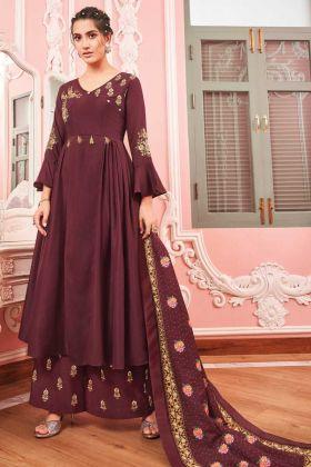 Brown Color Anarakali Style Maslin Salwar suit
