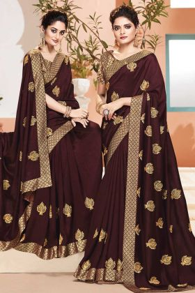 Brown Color Art Silk Saree With Brocade Blouse