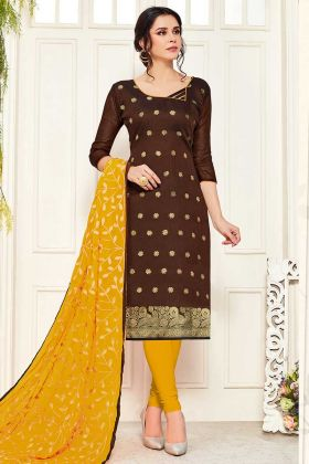 Brown Color Banarasi Silk Churidar Salwar Suit Design
