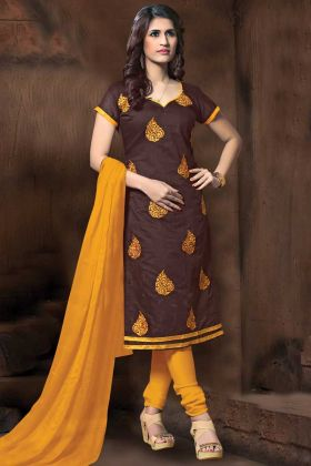 Brown Color Casual Wear Modal Silk Straight Suit