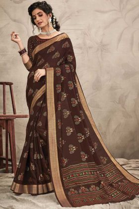 Brown Color Chanderi Resham And Jari Work Saree
