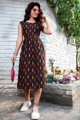 Brown Color Heavy Rayon Stylish Printed Good Looking Short Kurti