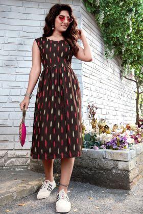 Brown Color Heavy Rayon Stylish Printed Good Looking Short Kurti