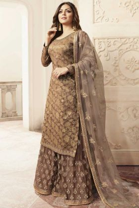 Brown Color Latest Designer Embroidery Plazzo Suit