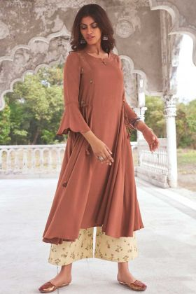 Brown Color Party Wear Super Fine Modal Khadi Readymade Kurti